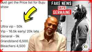 Buju Concert Ticket Prices is FAKE NEWS, says Donovan Germain