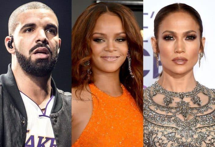 Drake, Rihanna, and Jennifer Lopez.