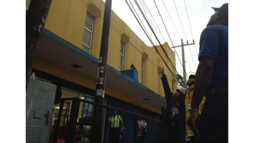 Fire On Barnett Street: Today, September 25, 2017, around 5:20 pm an alarm was raised over a fire on a light post on Barnett Street. McKoy's reporter and photographer were on the scene