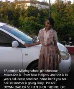 Attention: Missing Girl Monique Morris: Rose Heights, St. James