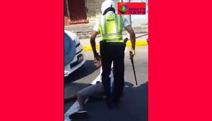 MontegoBay Police Officer Breaks Man Foot