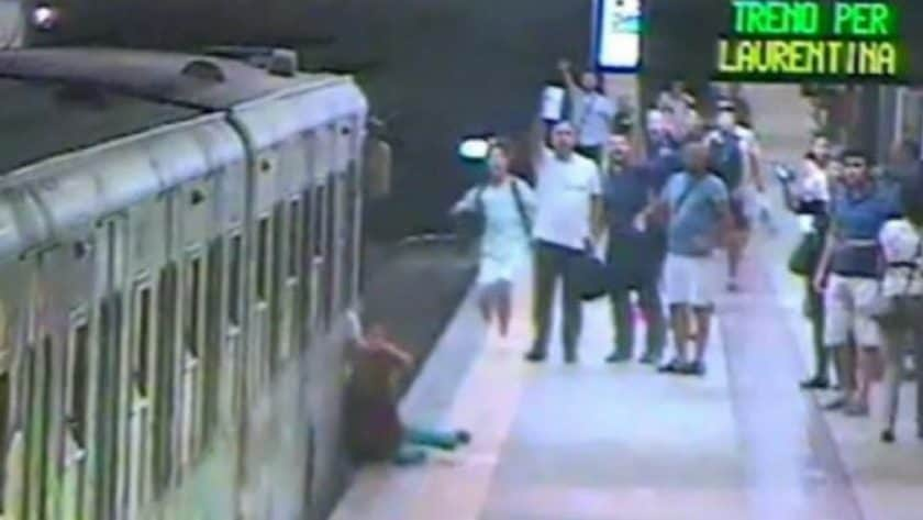 Train Dragged Woman, on Rome Metro, along Platform
