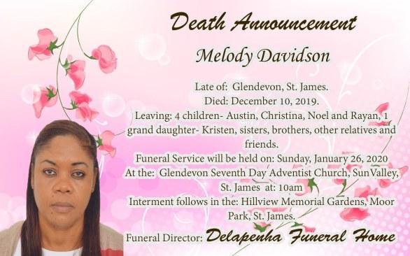 Melody Davidson Death Announcement