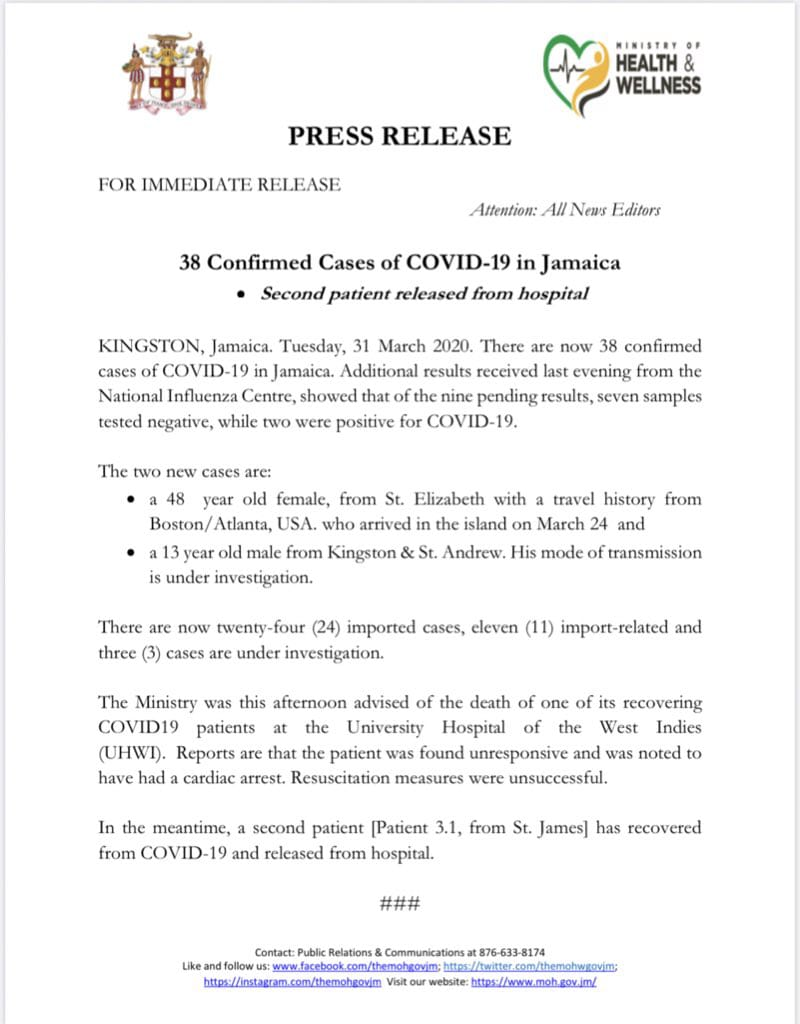 13-year-old boy have Coronavirus in Jamaica