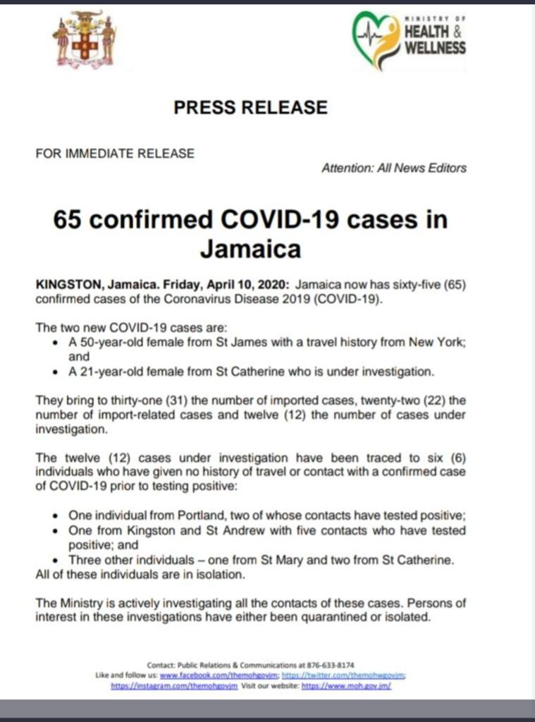 65 Confirmed Cases of COVID-19 in Jamaica