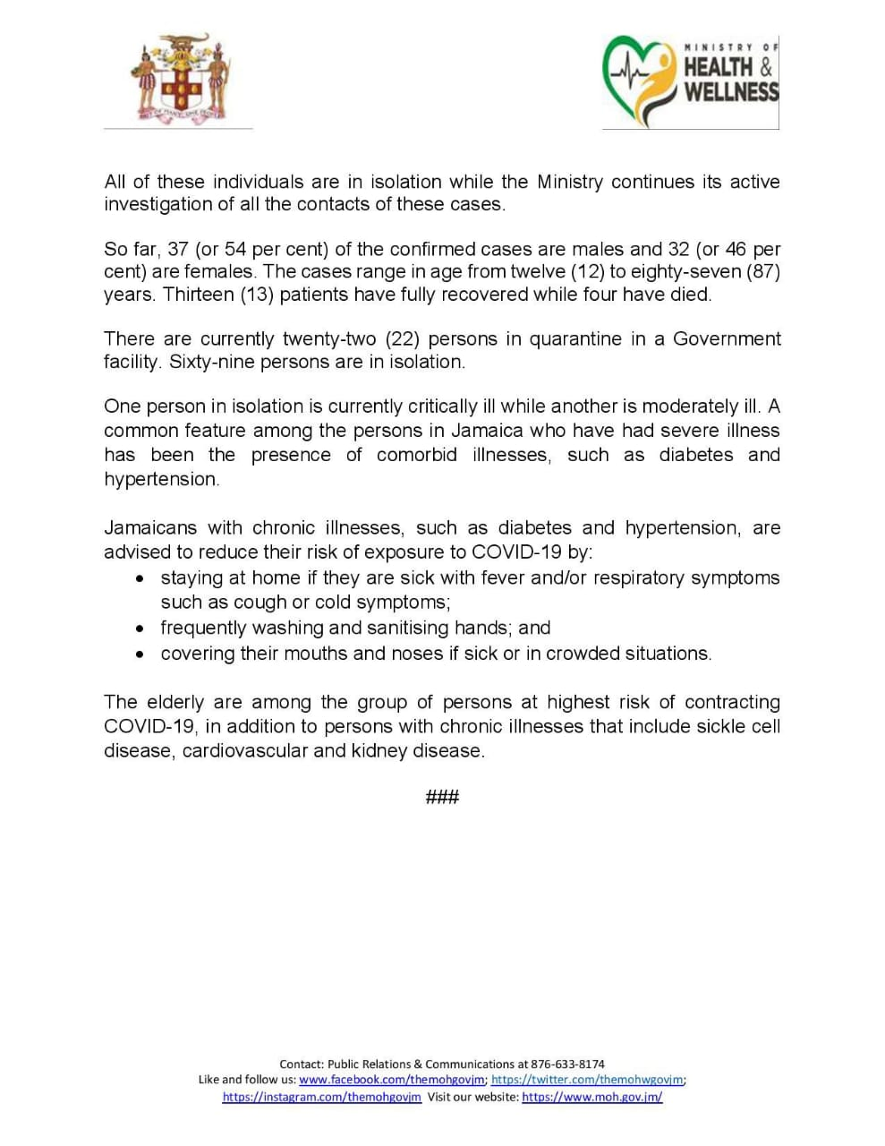 69 Confirmed Cases of COVID-19 in Jamaica