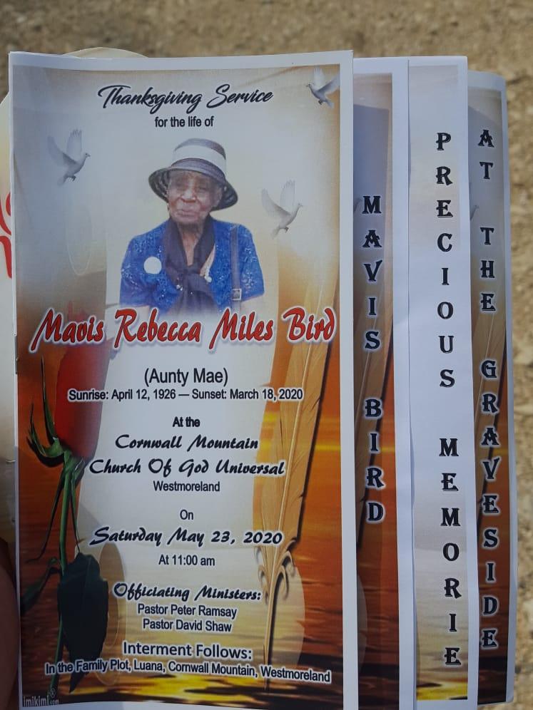 Mavis Rebecca Miles-Bird Funeral Live