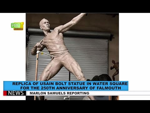 Replica Of Usain Bolt Statue In Water Square Falmouth For 250th Anniversary