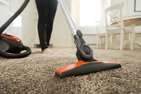 Close up of the vacuum cleaner brush on the carpet