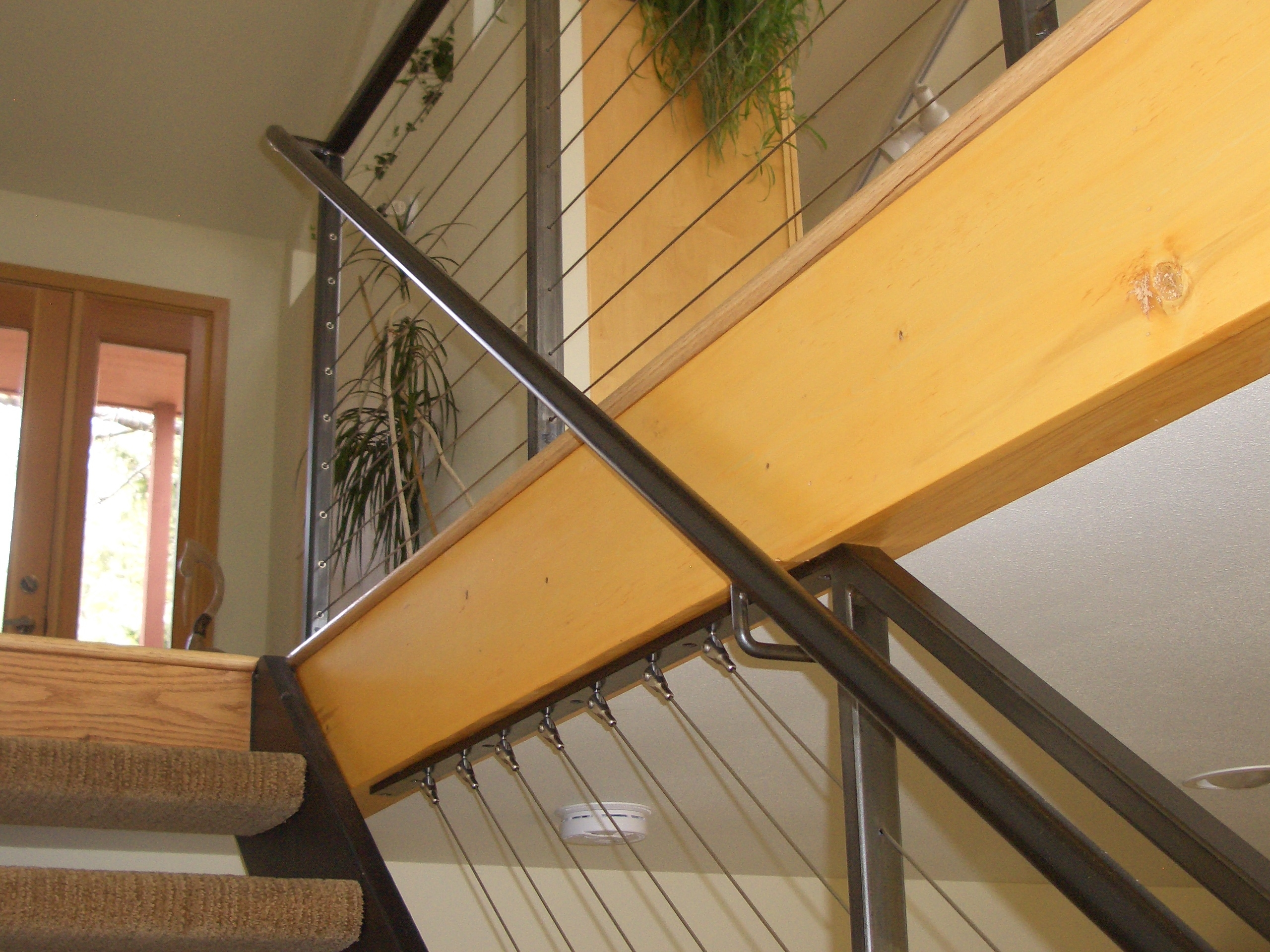 Interior Cable Railing With Continuous Stair Hand Rail Mclean | Cable Stair Railing Indoor | Exterior Irregular Stair | Vertical | Wood | 90 Degree Stair | Stainless