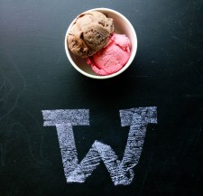 The Full Tilt ice cream shop has chalk with which customers can draw on the chalkboard countertop.