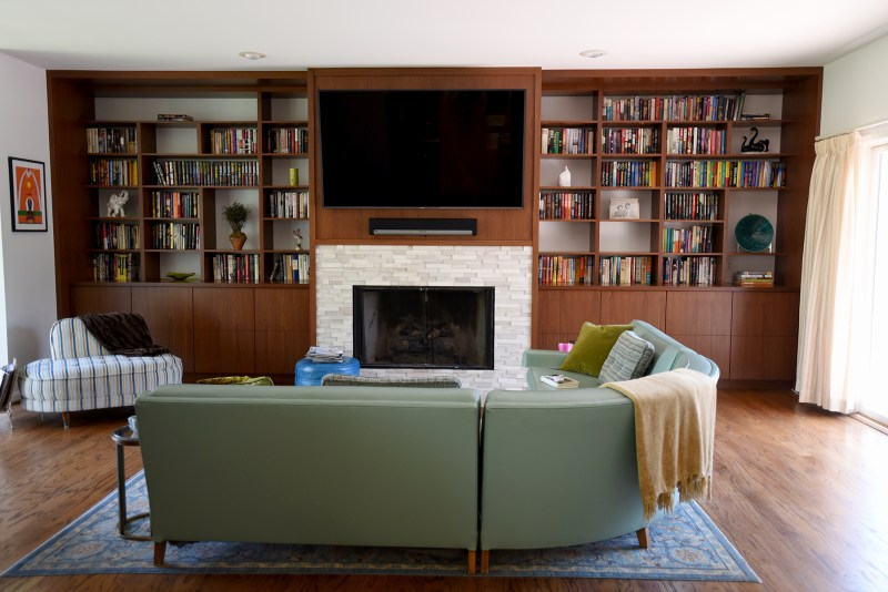 built-in wall of bookcases