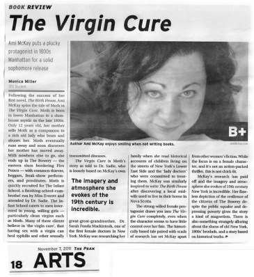 Book review for THE VIRGIN CURE, published in The Peak