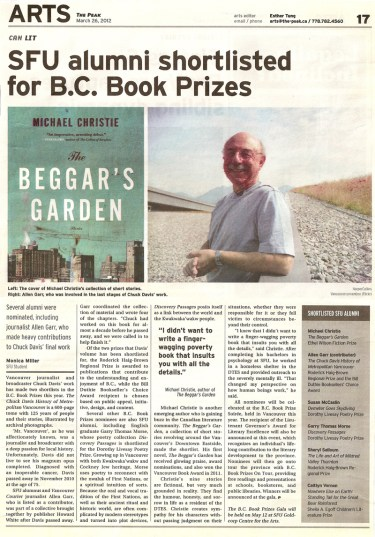 The Peak :: SFU alumni shortlisted for B.C. Book Prizes