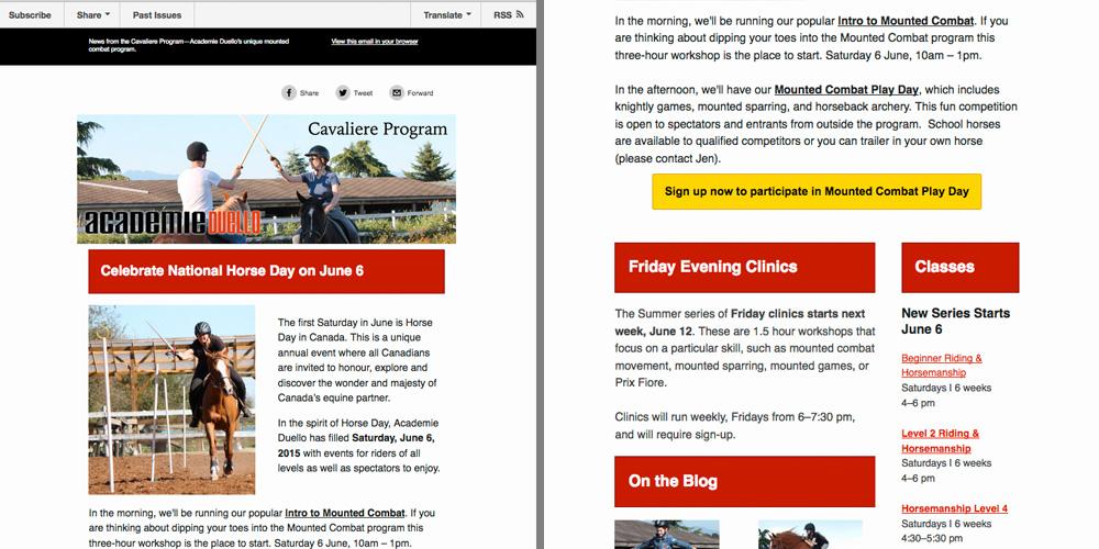 Cavaliere - MailChimp newsletters