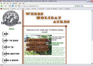 Webb's Holiday Acres -- website circa 2006