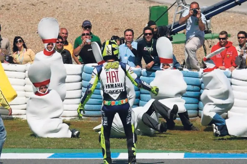 Rossi's bowling celebration