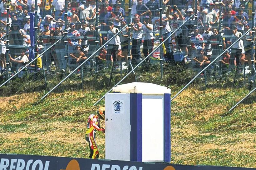 Rossi's porta-loo celebration
