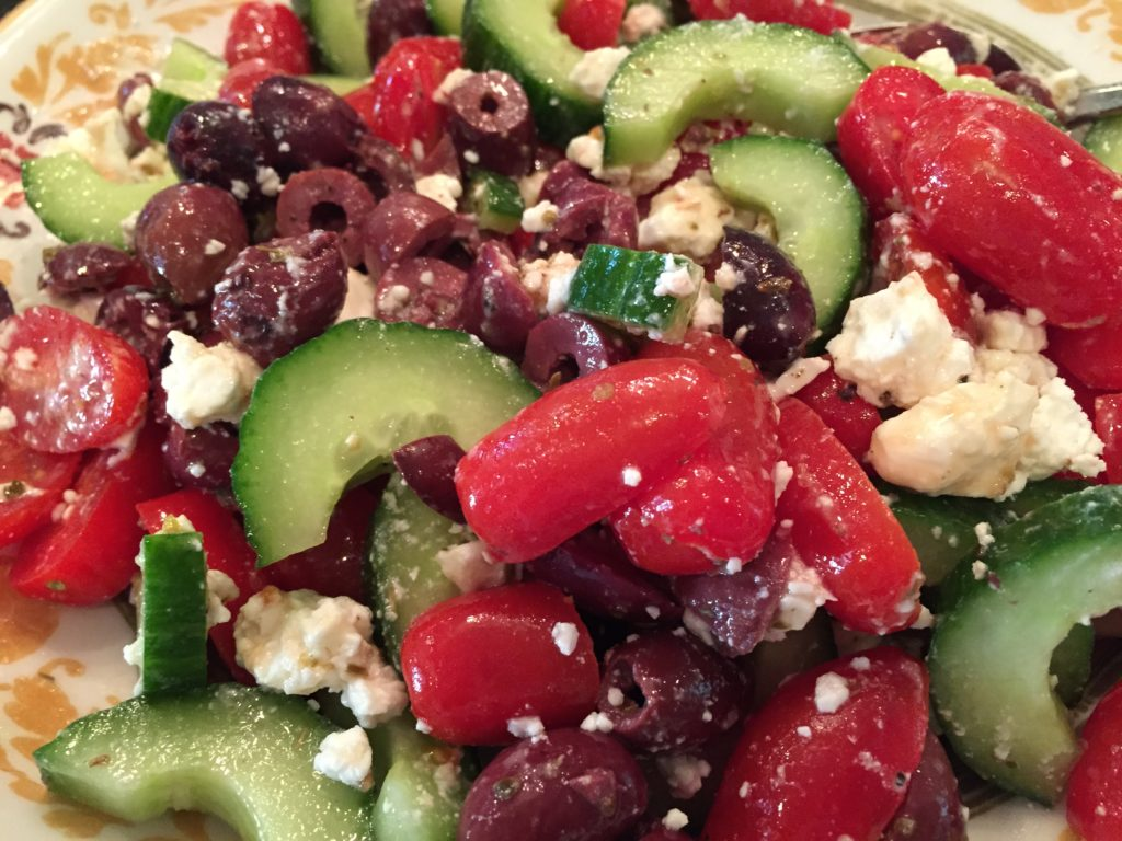 cucumbers with olives and feta
