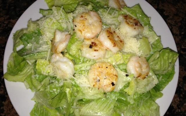 Caesar Salad with Sauteed Shrimp