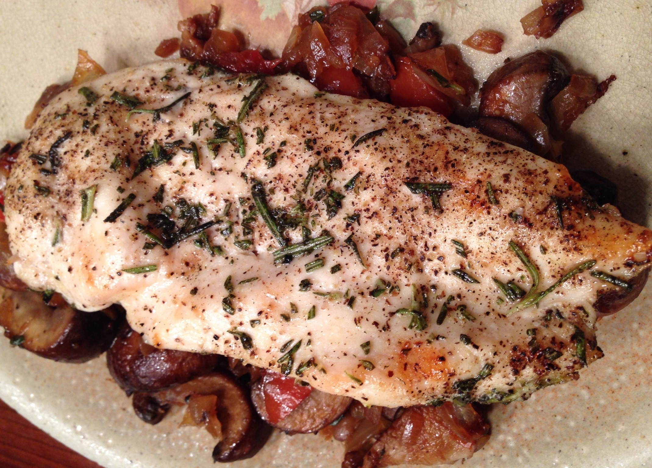 Rosemary Grilled Chicken with Mushroom Sauce