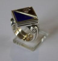 Triangular Rings: silver, lapis lazuli, quartz
