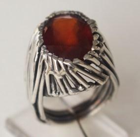 Ring: Silver, hessonite garnet
