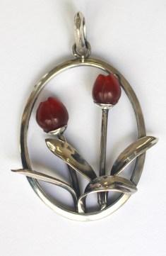 Tulips: pendant; silver, carnelian