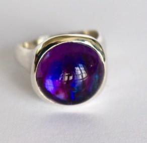 Ring: silver, amethyst, paua shell
