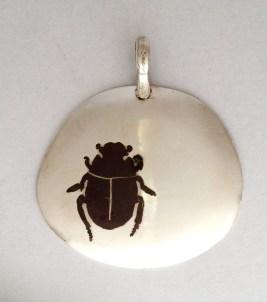 Toktokkie Beetle pendant: Inlaid Silver