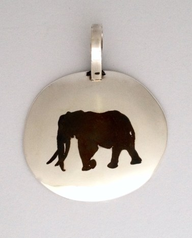 Elephant Pendant: Inlaid silver