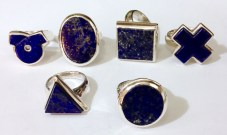 six rings with Lapis Lazuli shapes.