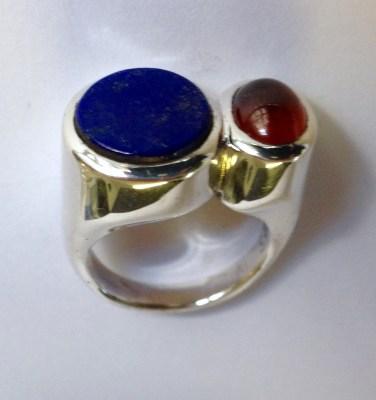 Ring: silver, lapis lazuli, hessonite garnet