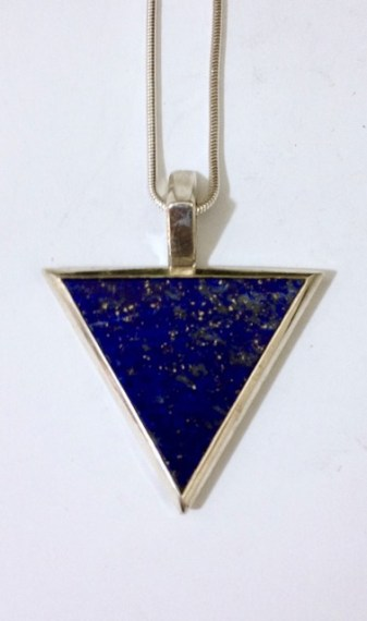 Pendant: silver, lapis lazuli