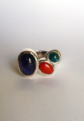 Ring: silver, citrine, iolites