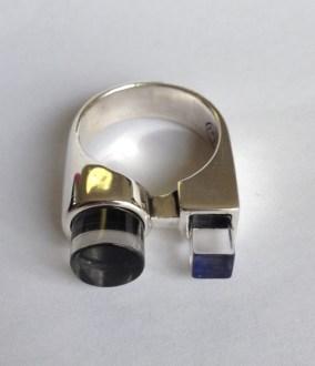 Ring: silver, quartz, jet, lapis lazuli