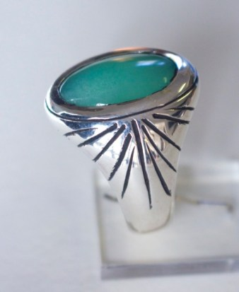 Ring: silver, chrysoprase