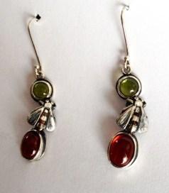Bees earring: silver, shakudo, garnets, tourmalines