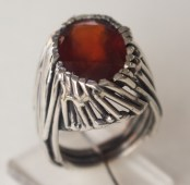 Ring: silver, hessonite garnet