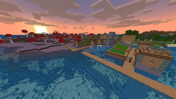 zombie-village-attached-to-mushroom-biome-at-spawn-minecraft-seeds
