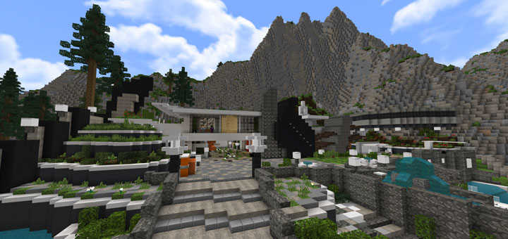 24M Hillside Mansion Creation Redstone Minecraft PE Maps