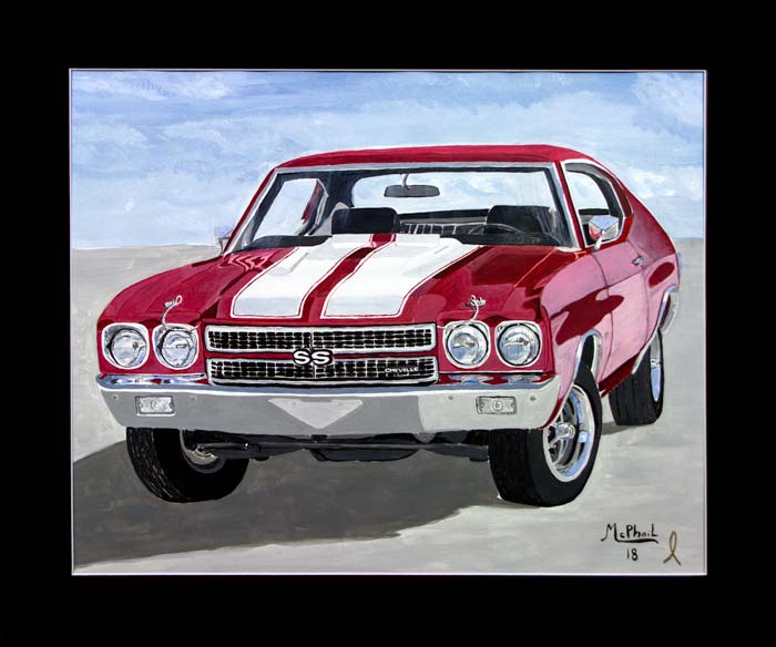 1970 red Chevelle SS painting by Jeff McPhail