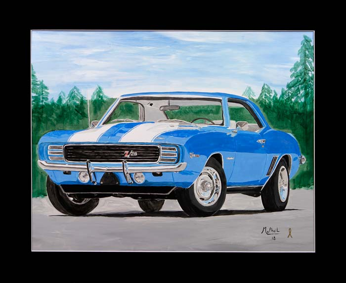 1969 Blue Camaro Z28 painting by Jeff McPhail