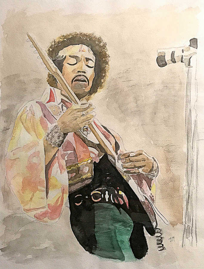 Jimmy Hendricks playing live watercolor on paper