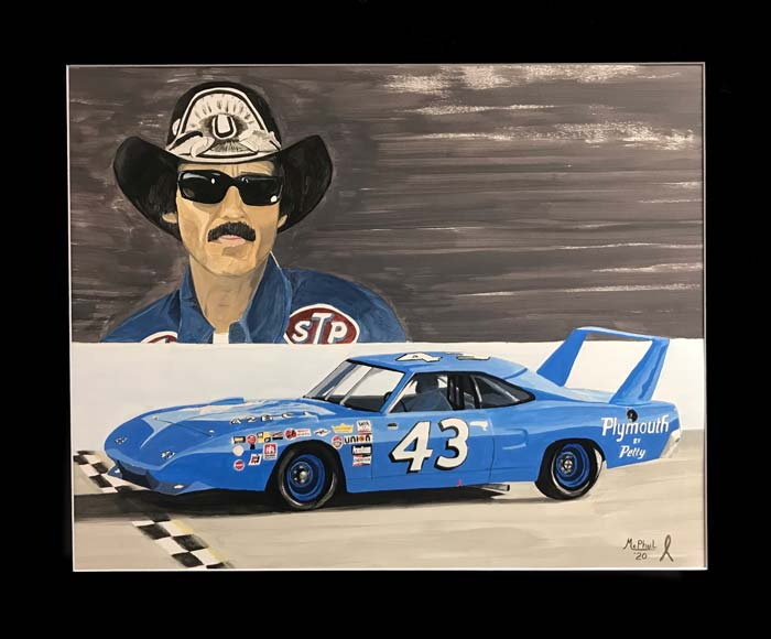1970 Plymouth Supterbird driven by Richard Petty, painting by Jeff McPhail