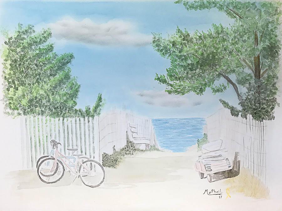 Beach Scene watercolor on paper