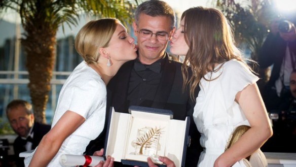 Lea Seydoux, Abdelatif Kechiche and Adele Exarchopoulos with their Palme d'Or