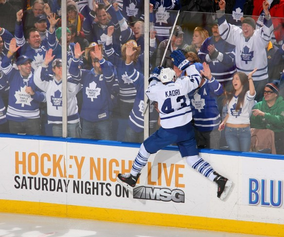 BUFFALO, NY - MARCH 21:  Nazem Kadri #43 of the Toronto Maple Leafs celebrates after scoring in the first period against the Buffalo Sabres  at First Niagara Center on March 21, 2013 in Buffalo, United States.  (Photo by Rick Stewart/Getty Images)