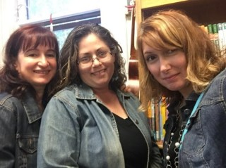 Selfie of three women in denim jackets