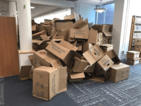 Pile of Empty Boxes Awaiting Recycling